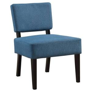 Monarch Specialties Armless Accent Slipper Chair, Blue/Black