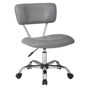 Office Star Avenue Six Vista Bonded Leather Task Chair, Gray/Silver