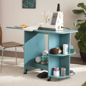 Southern Enterprises Expandable Rolling Sewing Table/Craft Station, Turquoise