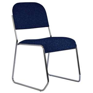 """Office-Stor Plus OfficeStor Series 601 Padded Fabric Seat, Fabric Back Stacking Chair, 18"""" Seat Width, Galaxy Blue Seat/Chrome Frame, Quantity: 1"""