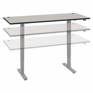 """Bush Business Furniture Move 40 Series by Bush Business Furniture 72""""W Electric Height-Adjustable Standing Desk, White Spectrum/Cool Gray Metallic, Standard Delivery"""
