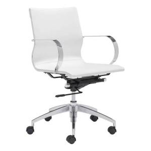 Zuo Modern Glider Low-Back Office Chair, White/Chrome