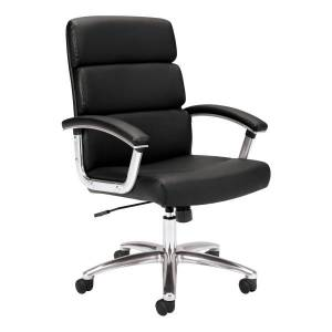 Basyx By HON HON Traction Executive Bonded Leather Chair With Padded Loop Arms, Black