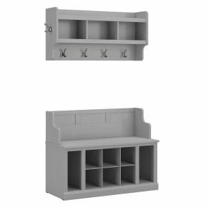 """kathy ireland Home by Bush Furniture Woodland 40""""W Entryway Bench With Shelves And Wall-Mounted Coat Rack, Cape Cod Gray, Standard Delivery"""