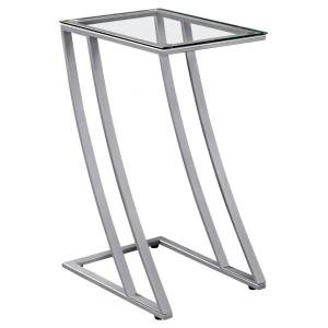 "Monarch Specialties Tasha Accent Table, 24""H x 12""W x 15-3/4""D, Silver"