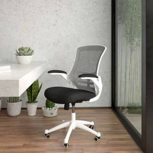 Flash Furniture Mesh Mid-Back Swivel Task Chair With Flip-Up Arms, Black/White