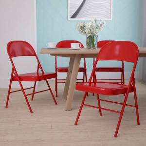 Flash Furniture HERCULES Metal Double-Braced Folding Chair, Red