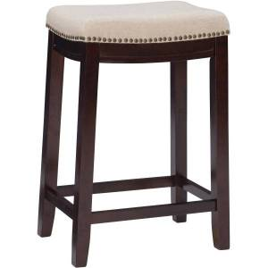 "Linon Home Decor Products Rankin 25"" Counter Stool, Dark Walnut/Beige"