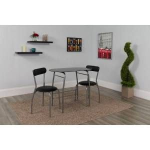 """Flash Furniture Space-Saver Glass Top Bistro Set With 2 Chairs, 29-1/2""""H x 19-3/4""""W x 35-1/2""""D, Black"""