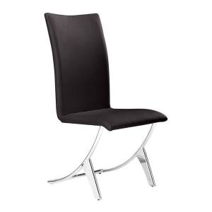 Zuo Modern Delfin Dining Chairs, Espresso/Chrome, Set Of 2 Chairs