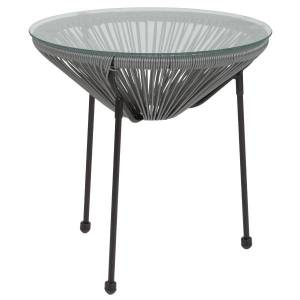 Flash Furniture Rattan Bungee Table With Glass Top, Gray/Black