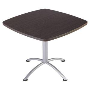 """Iceberg iLand Square Hospitality Table, 36""""W x 36""""D, Brown Wood/Silver Chrome"""