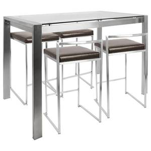 Lumisource Fuji Counter-Height Table With 4 Stools, Brown/Stainless Steel