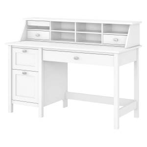 """Bush Furniture Broadview 54""""W Computer Desk With 2-Drawer Pedestal And Organizer, Pure White, Standard Delivery"""