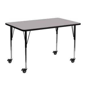 """Flash Furniture Mobile 48""""W Rectangular HP Laminate Activity Table With Standard Height-Adjustable Legs, Gray"""