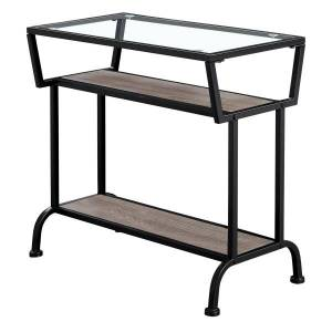 """Monarch Specialties Kelsey Accent Table, 22""""H x 24""""W x 12""""D, Dark Taupe/Black"""