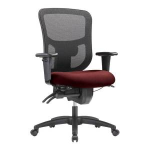 WorkPro 9500XL Series Big And Tall Mesh/Fabric Mid-Back Multifunction Office Chair, Burgundy/Black