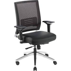 Lorell Executive Multifunction Mesh/Bonded Leather Swivel Chair, Black
