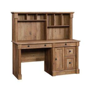 Sauder Palladia Computer Desk With Hutch, Vintage Oak