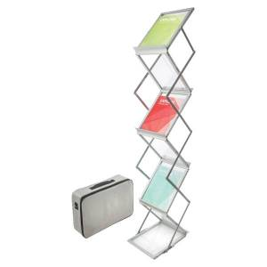 "Deflecto Deflect-O Collapsible Literature Floor Stand, 60""H x 11 1/2""W x 14 1/2""D, Silver"
