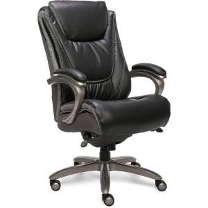 Serta Big And Tall Smart Layers Blissfully Bonded Leather High-Back Chair, Black/Gray