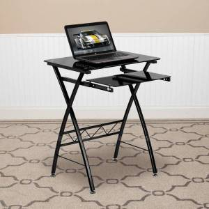 """Flash Furniture 24""""W Glass Computer Desk With Pull-Out Keyboard Tray, Black"""