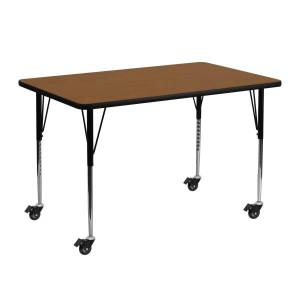 Flash Furniture Mobile 48''W Rectangular HP Laminate Activity Table With Standard Height-Adjustable Legs, Oak