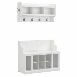 """kathy ireland Home by Bush Furniture Woodland 40""""W Entryway Bench With Shelves And Wall-Mounted Coat Rack, White Ash, Standard Delivery"""