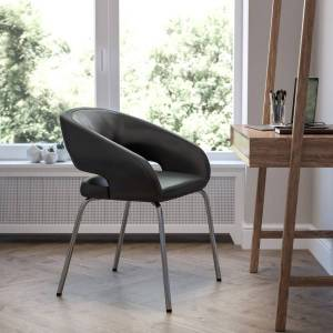 Flash Furniture Fusion Contemporary Bonded LeatherSoft Side Reception Chair With Chrome Legs, Black