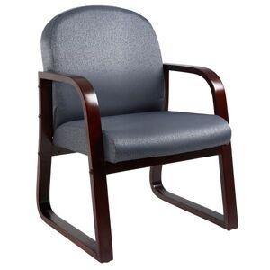 Boss Reception Room Chair, Mahogany/Gray