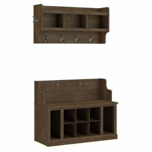 "kathy ireland Home by Bush Furniture Woodland 40""W Entryway Bench With Shelves And Wall-Mounted Coat Rack, Ash Brown, Standard Delivery"