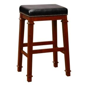 Linon Home Dcor Products Marshall Backless Bar Stool, Dark Cherry/Black