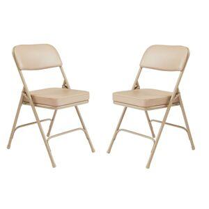 National Public Seating Vinyl-Upholstered Folding Chair, Beige, Set Of 2