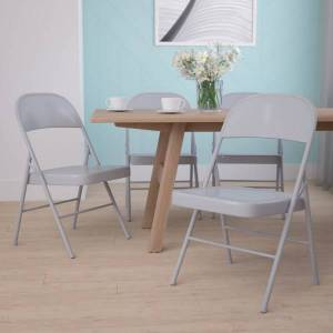Flash Furniture HERCULES Metal Double-Braced Folding Chair, Gray