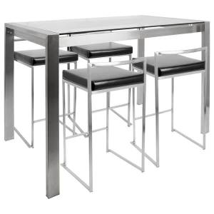 Lumisource Fuji Counter-Height Table With 4 Stools, Black/Stainless Steel