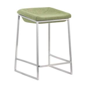 Zuo Modern Lids Counter Stools, Green/Brushed Steel, Set Of 2 Stools