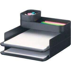 "Safco Stacking Plastic Desktop Sorter Sets - 4 Compartment(s) - 6.3"" Height x 10"" Width x 12.3"" Depth - Desktop - Black - Acrylonitrile Butadiene Styr"