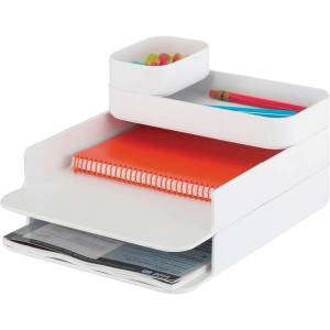 "Safco Stacking Plastic Desktop Sorter Sets - 4 Compartment(s) - 6.3"" Height x 10"" Width x 12.3"" Depth - Desktop - White - Acrylonitrile Butadiene Styr"