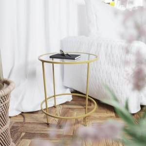 """Flash Furniture Round Glass End Table, 21-1/2""""H x 19-1/2""""W x 19-1/2""""D, Clear/Matte Gold"""