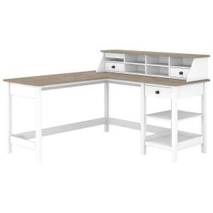 """Bush Furniture Mayfield 60""""W L-Shaped Computer Desk With Desktop Organizer, Pure White/Shiplap Gray, Standard Delivery"""