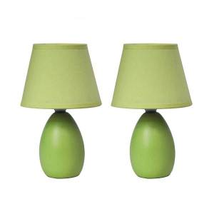 """Simple Designs Mini Egg Table Lamps, 9 1/2""""H, Green Shade/Green Base, Set Of 2"""