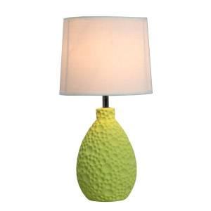 "Simple Designs Textured Stucco Table Lamp, 14""H, White Shade/Green Base"