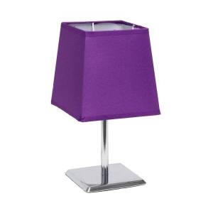 "Simple Designs Mini Chrome Table Lamp With Empire Shade, 9-3/4""H, Purple Shade/Chrome Base"