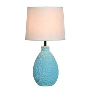 """Simple Designs Textured Stucco Table Lamp, 14""""H, White Shade/Blue Base"""