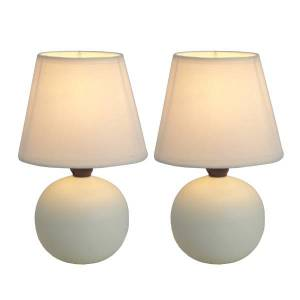 """Simple Designs Mini Globe Table Lamps, 8 7/8""""H, Off-White Shade/Off-White Base, Set Of 2"""