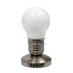 "Simple Designs Edison-Style Minimalist Idea Bulb Mini Touch Desk Lamp, 9 1/2""H, White Shade/Sand Nickel Base"
