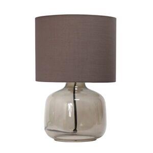 "Simple Designs Glass Table Lamp, 13""H, Gray Shade/Smoke Gray Base"