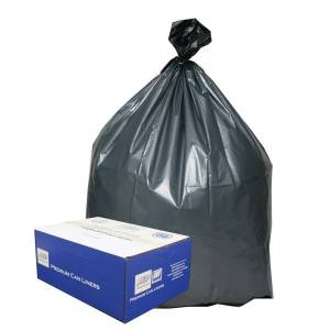 "Webster Platinum Plus 1.55 mil Trash Bags, 55 gal, 39""H x 56""W, 70% Recycled, Black & Silver, 50 Bags"