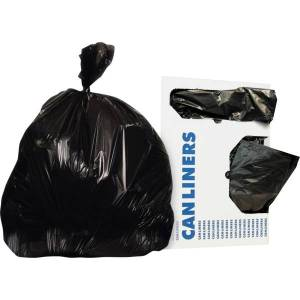 """Heritage Bag Linear Low-Density 0.35-mil Can Liners, 24"""" x 32"""", Black, 500 Bags Per Case"""
