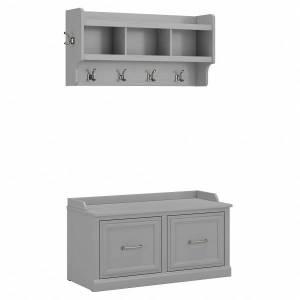 """kathy ireland Home by Bush Furniture Woodland 40""""W Shoe Storage Bench With Doors And Wall-Mounted Coat Rack, Cape Cod Gray, Standard Delivery"""